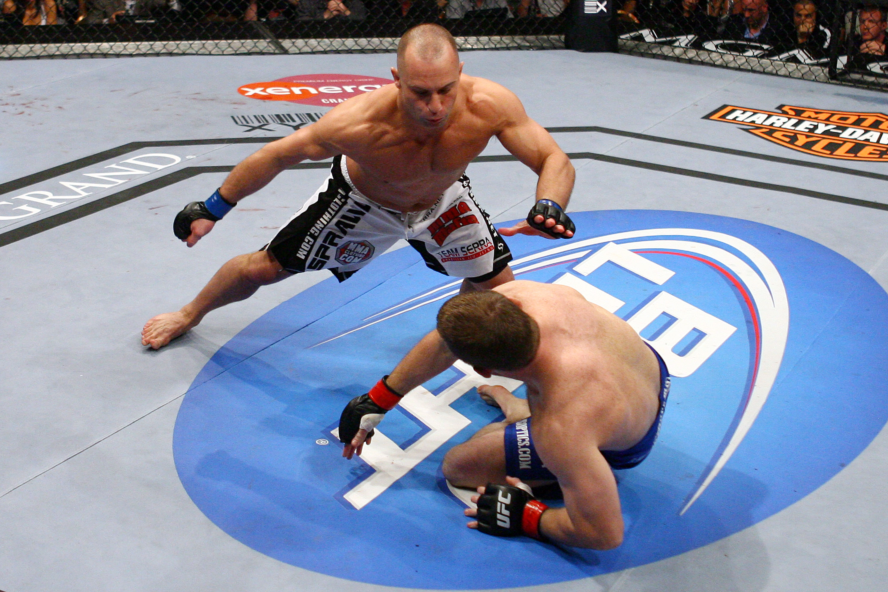 LAS VEGAS - MAY 23: Matt Serra (L) battles Matt Hughes (R) during their Welterweight bout at UFC 98: Evans vs Machida at the MGM Grand Garden Arena on May 23, 2009 in Las Vegas, Nevada. (Photo by Al Bello/Zuffa, LLC via Getty Images)