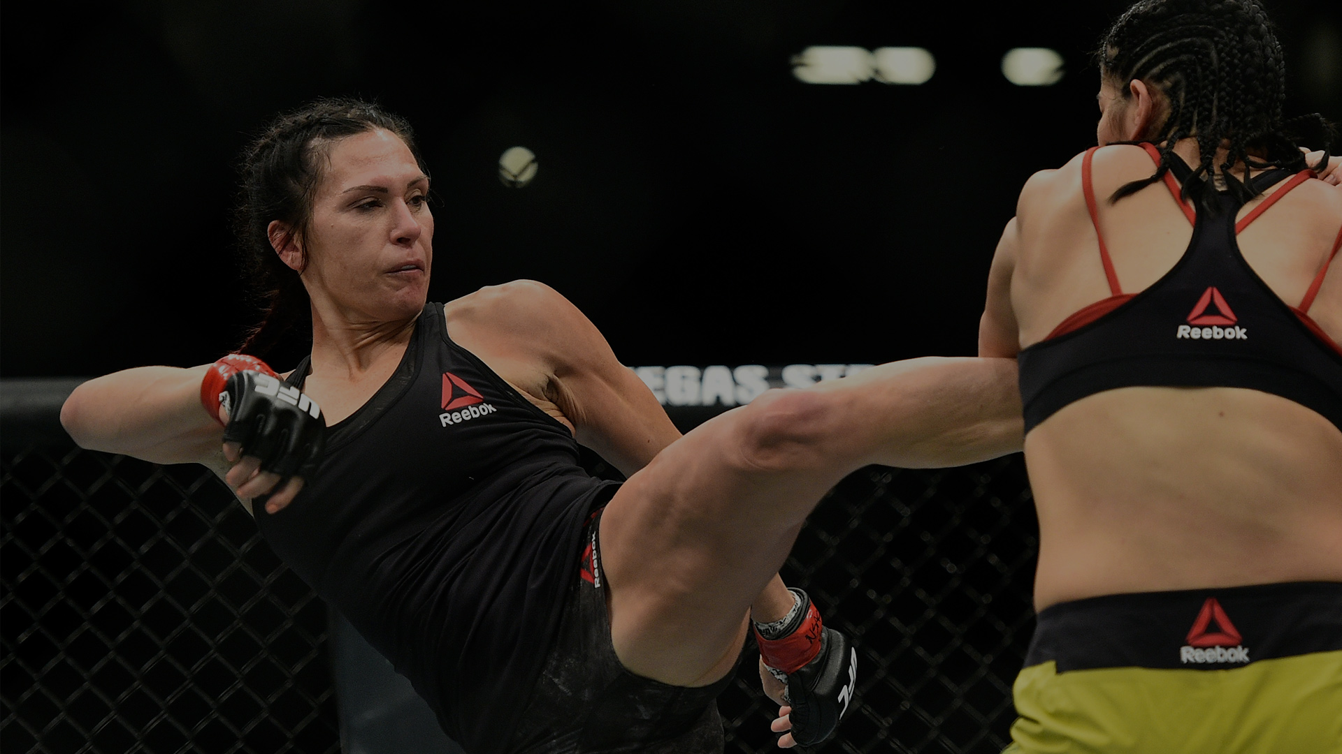 LAS VEGAS, NV - MARCH 03:   (L-R) Cat Zingano kicks Ketlen Vieira of Brazil in their women's bantamweight bout during the UFC 222 event inside T-Mobile Arena on March 3, 2018 in Las Vegas, Nevada. (Photo by Brandon Magnus/Zuffa LLC/Zuffa LLC via Getty Images)