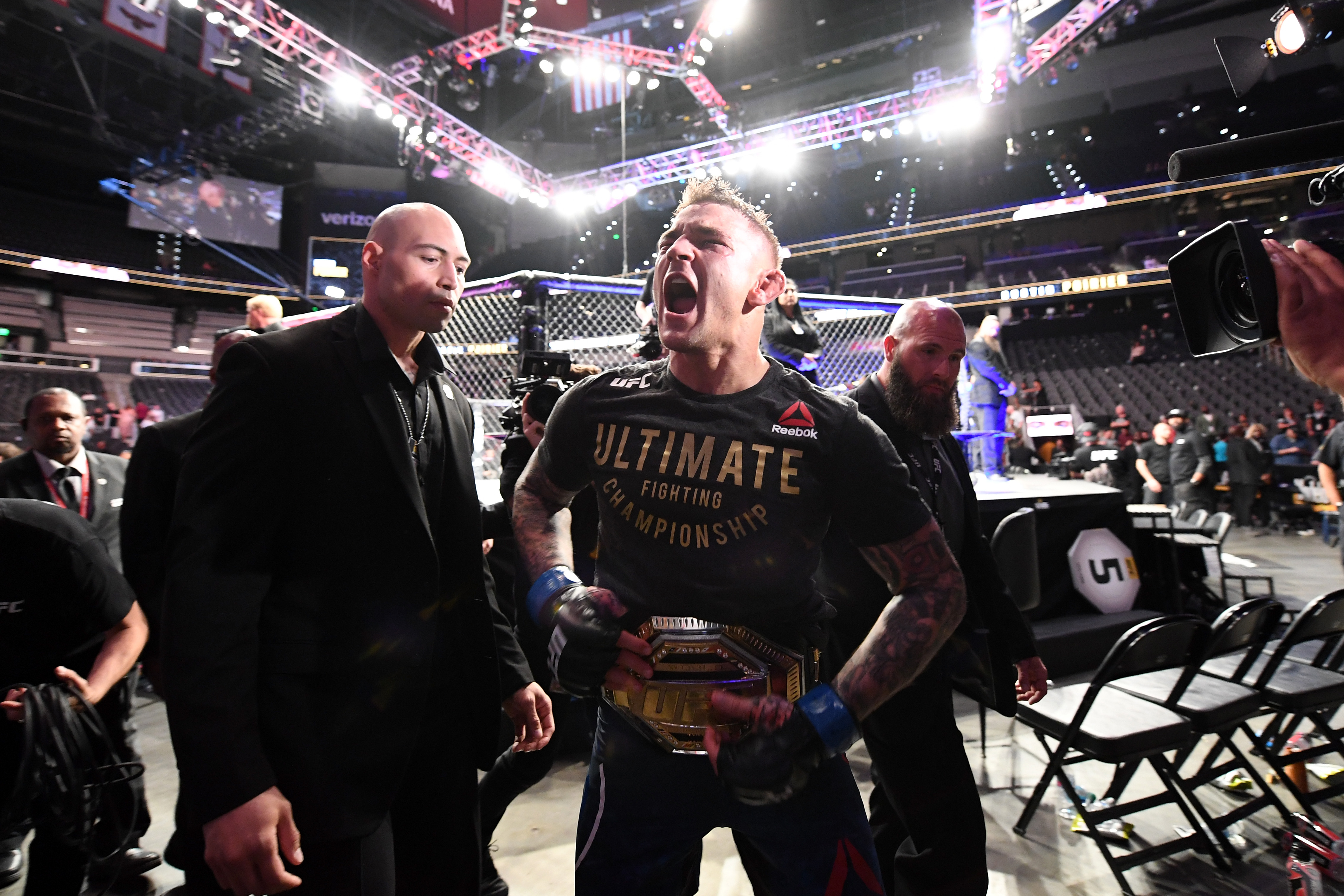 ATLANTA, GA - APRIL 13: Dustin Poirier reacts after defeating Max Holloway in their interim lightweight championship bout during the UFC 236 event at State Farm Arena on April 13, 2019 in Atlanta, Georgia. (Photo by Josh Hedges/Zuffa LLC/Zuffa LLC via Getty Images)