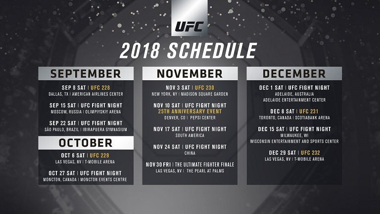 event schedule for rest of 2018 released ufc