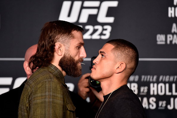 BROOKLYN, NY - APRIL 05: (L-R) Michael Chiesa and Anthony Pettis face off during the UFC 223 Ultimate Media Day inside Barclays Center on April 5, 2018 in Brooklyn, New York. (Photo by Jeff Bottari/Zuffa LLC/Zuffa LLC via Getty Images)