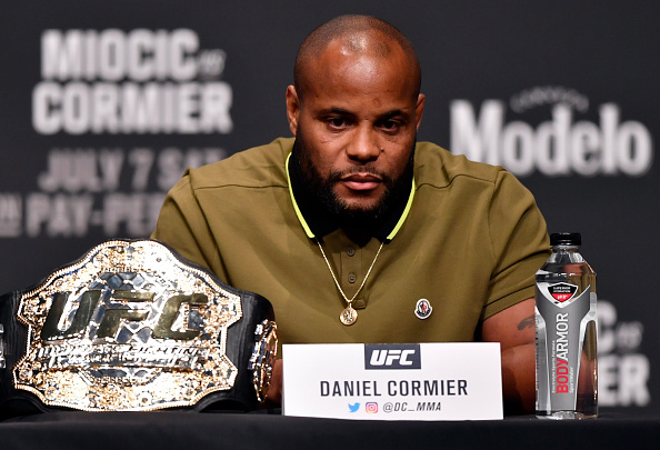 LAS VEGAS, NEVADA - JULY 05: UFC light heavyweight champion Daniel Cormier interacts with media during the UFC 226 Press Conference inside The Pearl concert theater at Palms Casino Resort on July 5, 2018 in Las Vegas, Nevada. (Photo by Jeff Bottari/Zuffa LLC/Zuffa LLC via Getty Images)