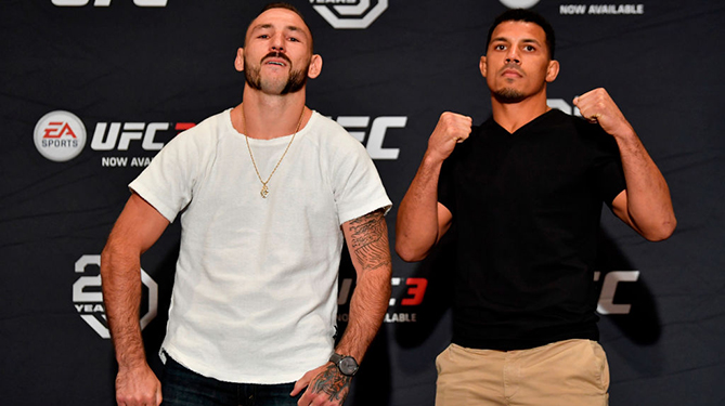 LAS VEGAS, NEVADA - JULY 05:  (L-R) Lando Vannata and Drakkar Klose pose for media during the UFC 226 <a href='../event/Ultimate-Brazil'>Ultimate </a>Media Day at Palms Casino Resort on July 5, 2018 in Las Vegas, Nevada. (Photo by Jeff Bottari/Zuffa LLC via Getty Images)