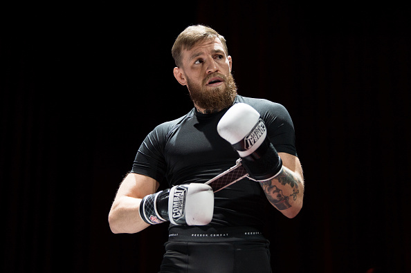 LAS VEGAS, NV - OCTOBER 03:  Conor McGregor of Ireland holds an open workout for fans and media at The Park Theatre at Park MGM on October 3, 2018 in Las Vegas, Nevada. (Photo by Chris Unger/Zuffa LLC/Zuffa LLC via Getty Images)