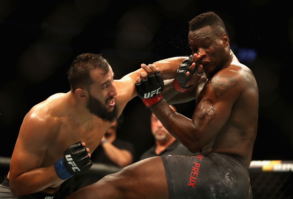 LAS VEGAS, NV - OCTOBER 06:  Dominick Reyes (L) punches Ovince Saint Preux in their light heavyweight bout during the UFC 229 event inside T-Mobile Arena on October 6, 2018 in Las Vegas, Nevada.  (Photo by Christian Petersen/Zuffa LLC/Zuffa LLC)