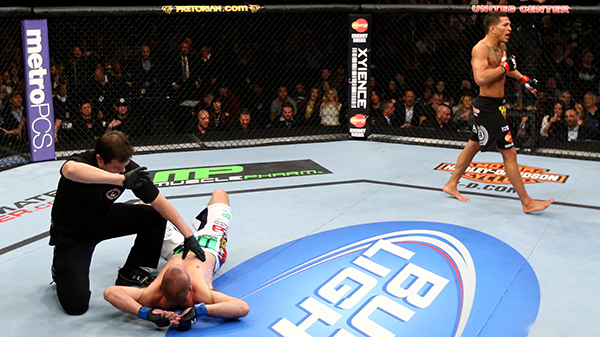 Pettis vs Donald Cerrone, January 26, 2013 (Photo by Al Bello/Zuffa LLC)