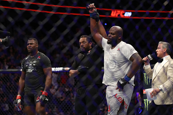 Derrick Lewis raises his hand in a decision over Francis Ngannou during UFC 226  (Photo by Christian Petersen/Zuffa LLC)