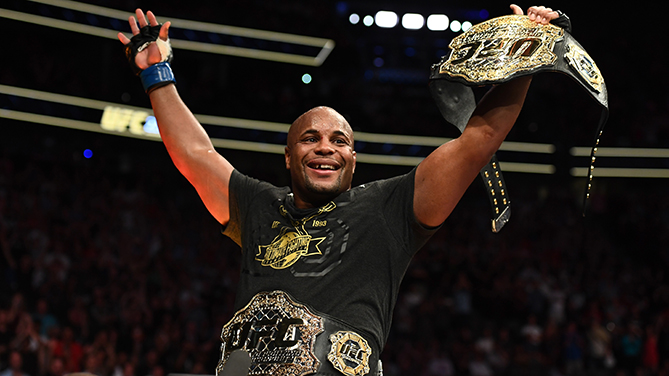 Daniel Cormier celebrates his victory over Stipe Miocic in their UFC heavyweight championship fight at UFC 226 on July 7, 2018 in Las Vegas, NV.  (Photo by Josh Hedges/Zuffa LLC)