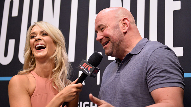 LAS VEGAS, NV - AUGUST 07:  UFC president Dana White is interviewed by Laura Sanko during Dana White's Tuesday Night Contender Series at the TUF Gym on August 7, 2018 in Las Vegas, Nevada. (Photo by Chris Unger/DWTNCS LLC)