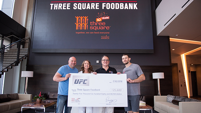 The UFC presented Three Square Foodbank with a donation of over $25,000 to help provide Nevada's hungry with food this summer. The donation was presented by Dana White and <a href='../fighter/Forrest-Griffin'>Forrest Griffin</a> to Three Square CEO Brian Burton and Three Square CDO Michelle Beck.