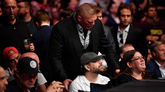 Brock Lesnar about to ask UFC 3 BeTheBoss contest winner John Farmer if he will move over a seat at UFC 226
