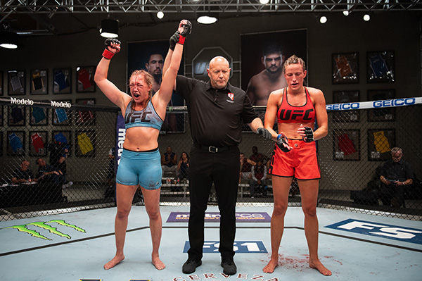 Leah Letson celebrates her win over Beata Malecki (Photo by Chris Unger/Zuffa LLC)