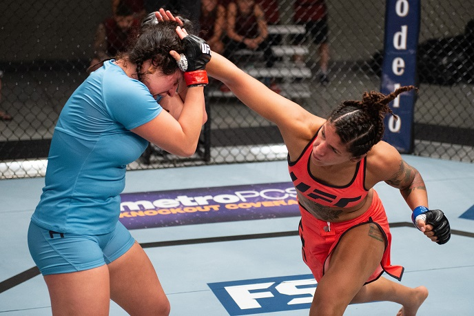 LAS VEGAS, NV - JULY 19: (R-L) Pannie Kianzad of Denmark punches Katharina Lehner of Germany during the filming of The Ultimate Fighter: Heavy Hitters on JULY 19, 2018 in Las Vegas, Nevada. (Photo by Chris Unger/Zuffa LLC/Zuffa LLC via Getty Images)
