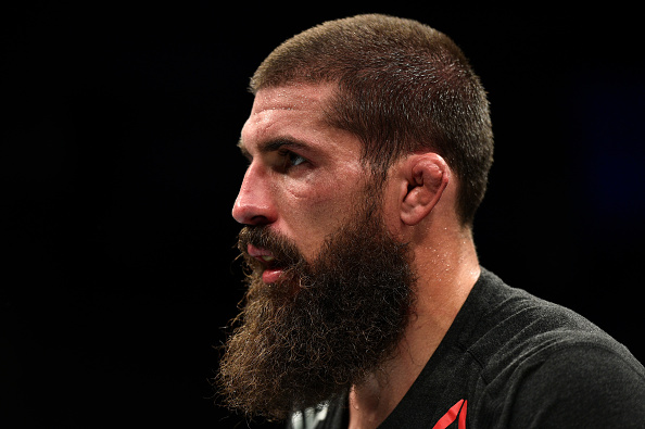 NORFOLK, VA - NOVEMBER 11: <a href='../fighter/Court-McGee'>Court McGee</a> looks on after being defeated by <a href='../fighter/Sean-Strickland'>Sean Strickland</a> in their welterweight bout during the <a href='../event/UFC-Silva-vs-Irvin'>UFC Fight Night </a>event inside the Ted Constant Convention Center on November 11, 2017 in Norfolk, Virginia. (Photo by Brandon Magnus/Zuffa LLC/Zuffa LLC via Getty Images)