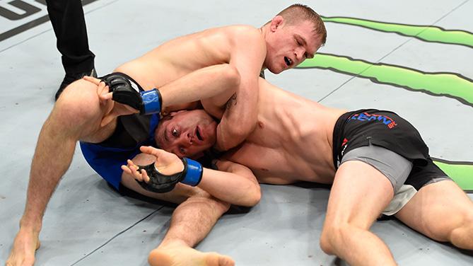 <a href='../fighter/Evan-Dunham'>Evan Dunham</a> attempts to submit <a href='../fighter/rick-glenn'>Rick Glenn</a> <a href='../event/UFC-Silva-vs-Irvin'>UFC Fight Night </a>event on September 17, 2016 in Hidalgo, TX. (Photo by Josh Hedges/Zuffa LLC)