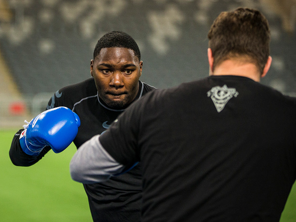 STOCKHOLM, SWEDEN - NOVEMBER 25: UFC fighter Anthony Johnson participates in a training session at the Tele2 Arena on November 25, 2014 in Stockholm, Sweden. (Photo by Michael Campanella/Zuffa LLC via Getty Images)