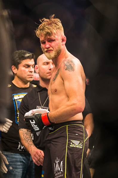 STOCKHOLM, SWEDEN - JANUARY 24: Alexander Gustafsson of Sweden dejected after being knocked out by Anthony Johnson of the United States during the UFC Fight Night event at Tele2 Arena on January 24, 2015 in Stockholm, Sweden. (Photo by Michael Campanella/Zuffa LLC/Zuffa LLC via Getty Images)