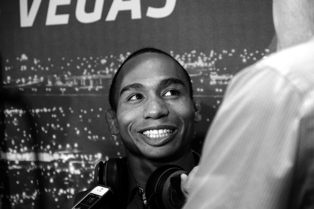 LAS VEGAS, NEVADA - MAY 21: John Dodson talks to reporters at UFC 187 Media Day at the MGM Grand.  (Photo by Juan Cardenas)