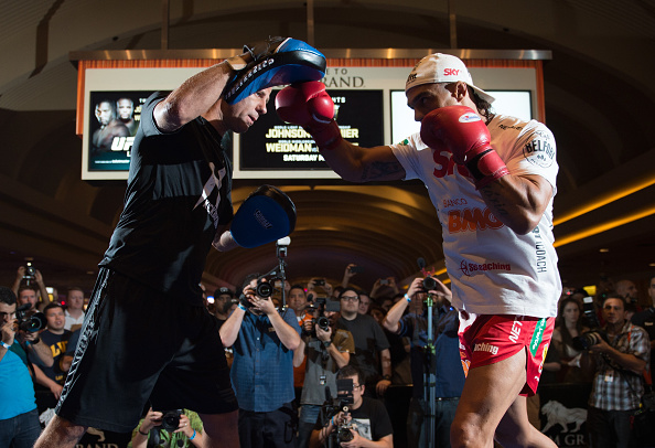 LAS VEGAS, NEVADA - MAY 20:   Vitor Belfort holds an open training session for fans and media at the MGM Grand Hotel/Casino on May 20, 2015 in Las Vegas Nevada. (Photo by Brandon Magnus/Zuffa LLC/Zuffa LLC via Getty Images)