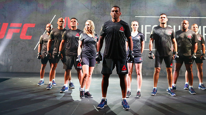 NEW YORK, NY - JUNE 30: UFC fighters display the new Reebok clothing line during the Reebok Fight Kit Launch at Skylight Modern. (Photo by Al Bello/Zuffa LLC)