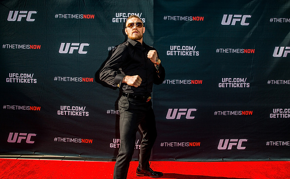 UFC featherweight Conor McGregor arrives at the UFC Time Is Now press conference at The Smith Center for the Performing Arts on November 17, 2014 in Las Vegas, Nevada. (Photo by Elliott Howard/Zuffa LLC)