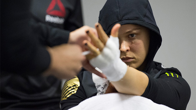 UFC straight champion Ronda Rousey of the United States gets her hands wrapped backstage during the UFC 190 event inside HSBC Arena on August 1, 2015 in Rio de Janeiro, Brazil. (Photo by Jeff Bottari/Zuffa LLC)
