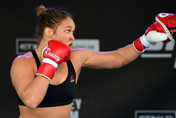 MELBOURNE, AUSTRALIA - NOVEMBER 12:  UFC women's bantamweight champion Ronda Rousey of the United States holds an open workout for fans and media at Federation Square on November 12, 2015 in Melbourne, Australia. (Photo by Josh Hedges/Zuffa LLC)