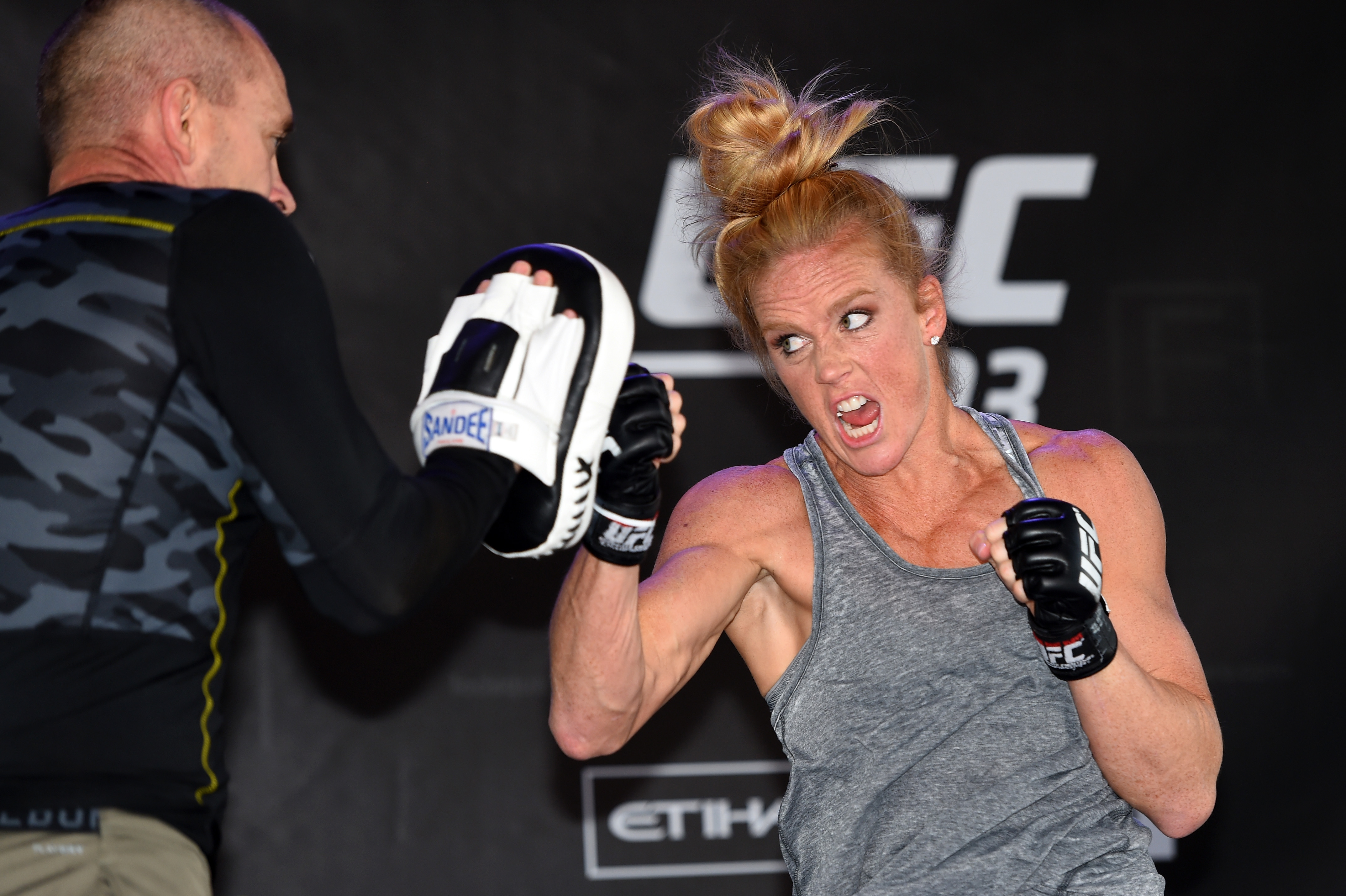 MELBOURNE, AUSTRALIA - NOVEMBER 12:  Holly Holm of the United States holds an open workout for fans and media at Federation Square on November 12, 2015 in Melbourne, Australia. (Photo by Josh Hedges/Zuffa LLC)