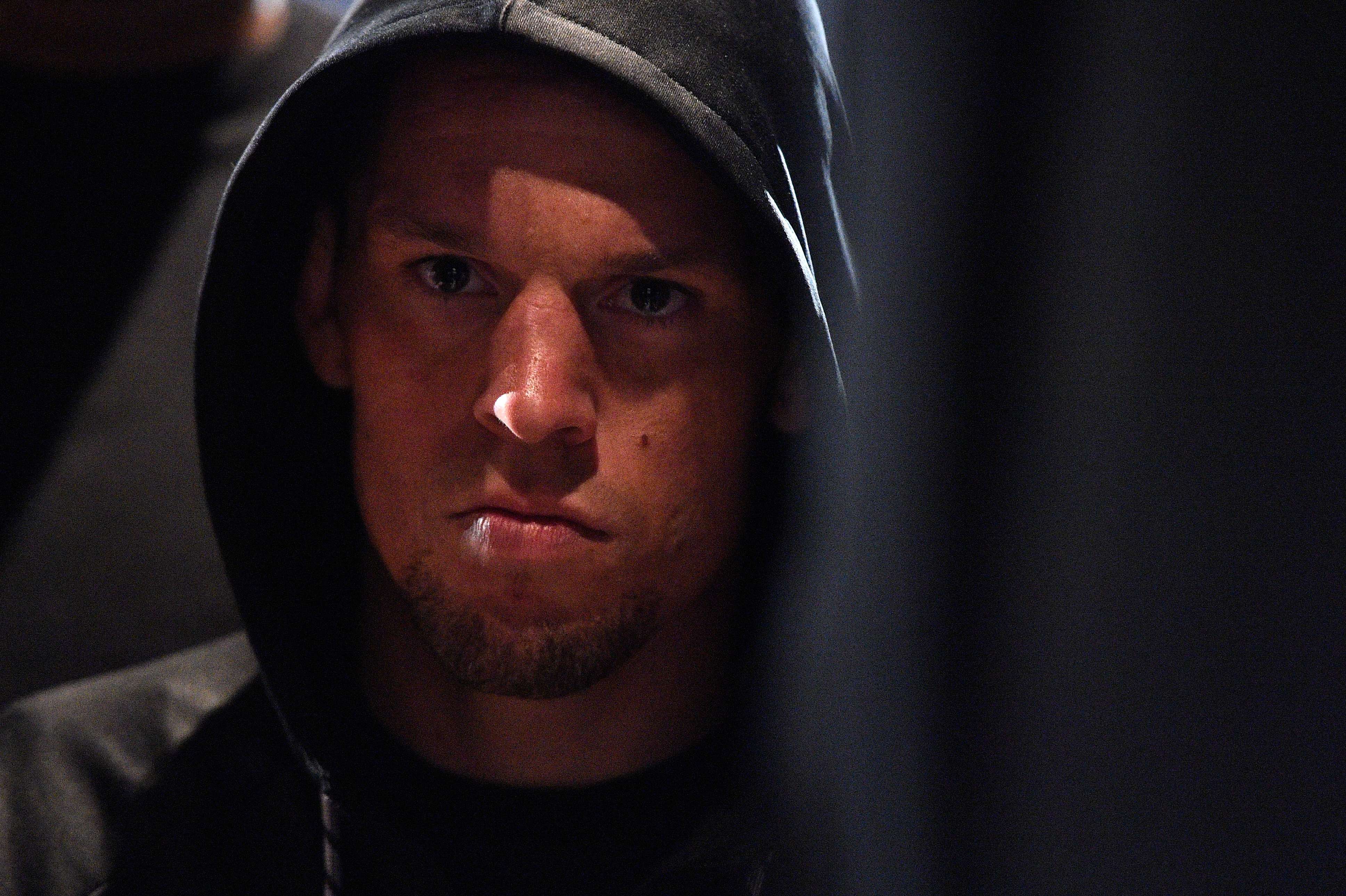 Nate Diaz waits backstage during the UFC 196 weigh-in at the MGM Grand Garden Arena on March 4, 2016 in Las Vegas, Nevada. (Photo by Jeff Bottari/Zuffa LLC)