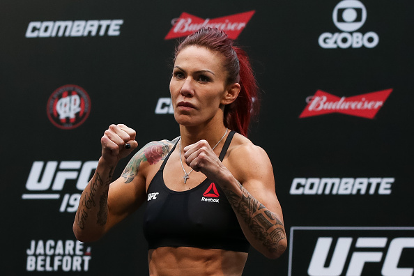 CURITIBA, BRAZIL - MAY 13:  Cris Cyborg Justino of Brazil weighs in during the UFC 198 weigh-in at Arena da Baixada stadium on May 13, 2016 in Curitiba, Brazil. (Photo by Buda Mendes/Getty Images)
