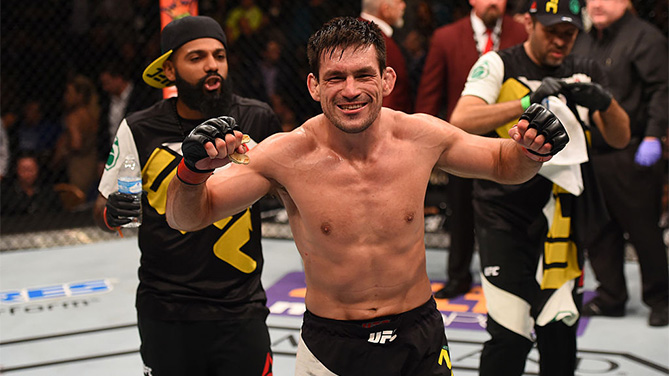 LAS VEGAS, NV - DECEMBER 12:  <a href='../fighter/Demian-Maia'>Demian Maia</a> of Brazil reacts to his victory over <a href='../fighter/Gunnar-Nelson'>Gunnar Nelson</a> of Iceland in their welterweight bout during the UFC 194 event inside MGM Grand Garden Arena on December 12, 2015 in Las Vegas, Nevada.  (Photo by Josh Hedges/Zuffa LLC)