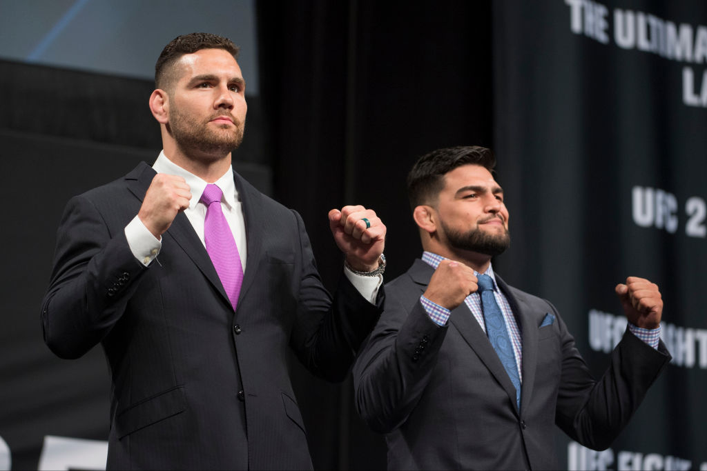 DALLAS, TX - MAY 12: Chris Weidman faces off with Kelvin Gastelum during the UFC Summer Kickoff Press Conference at the American Airlines Center on May 12, 2017 in Dallas, Texas. (Photo by Cooper Neill/Zuffa LLC)