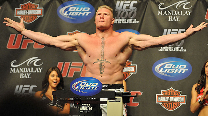 LAS VEGAS - JULY 10: UFC heavyweight fighter Brock Lesner makes weight at <a href='../event/UFC-100'>UFC 100 </a>Weigh-Ins at the Mandalay Bay Hotel and Casino on July 10, 2009 in Las Vegas, Nevada. (Photo by Jon Kopaloff/Getty Images)
