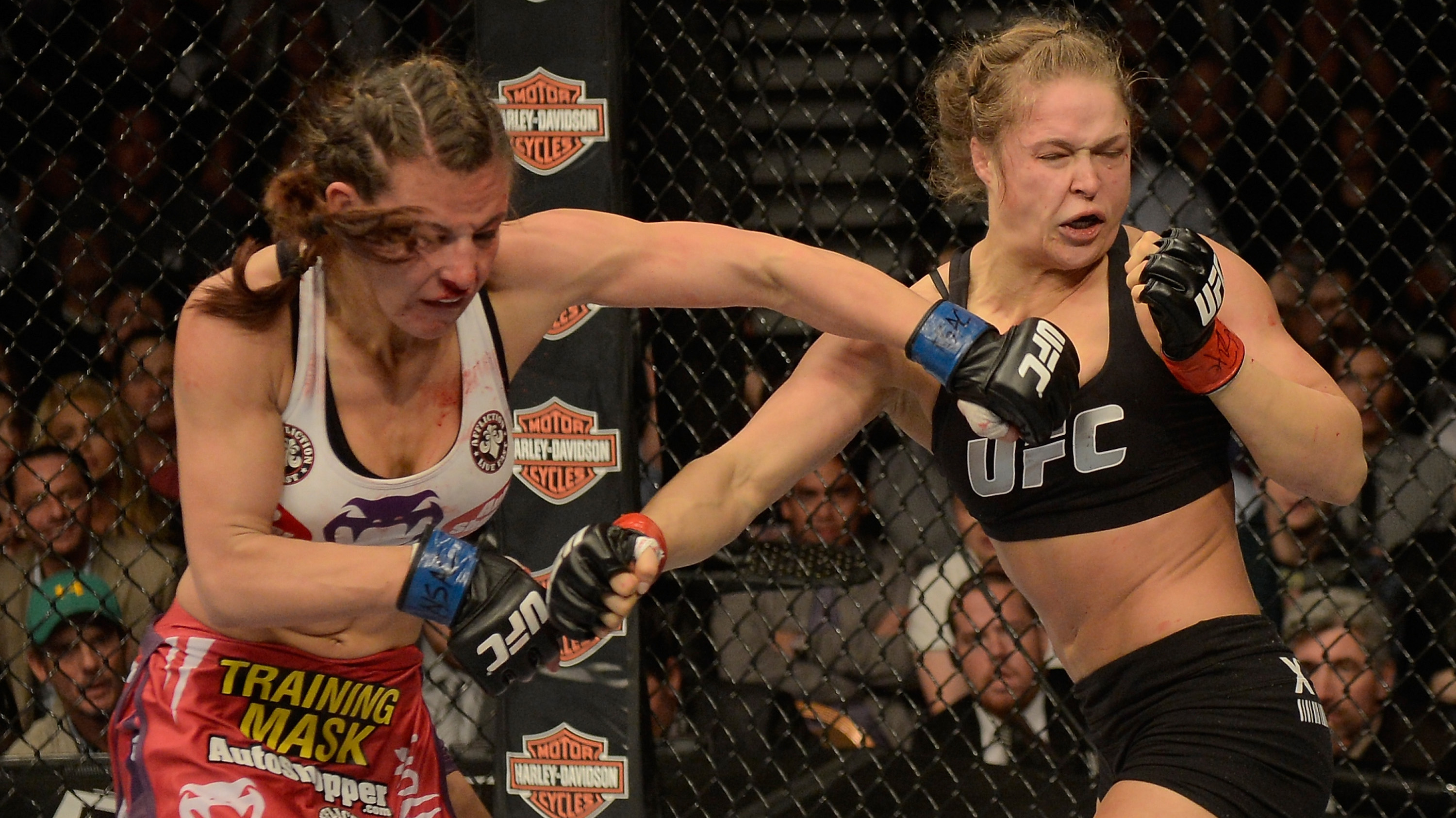 Tate in action in her second fight vs Rousey (Photo by Donald Miralle/Zuffa LLC/Zuffa LLC via Getty Images)