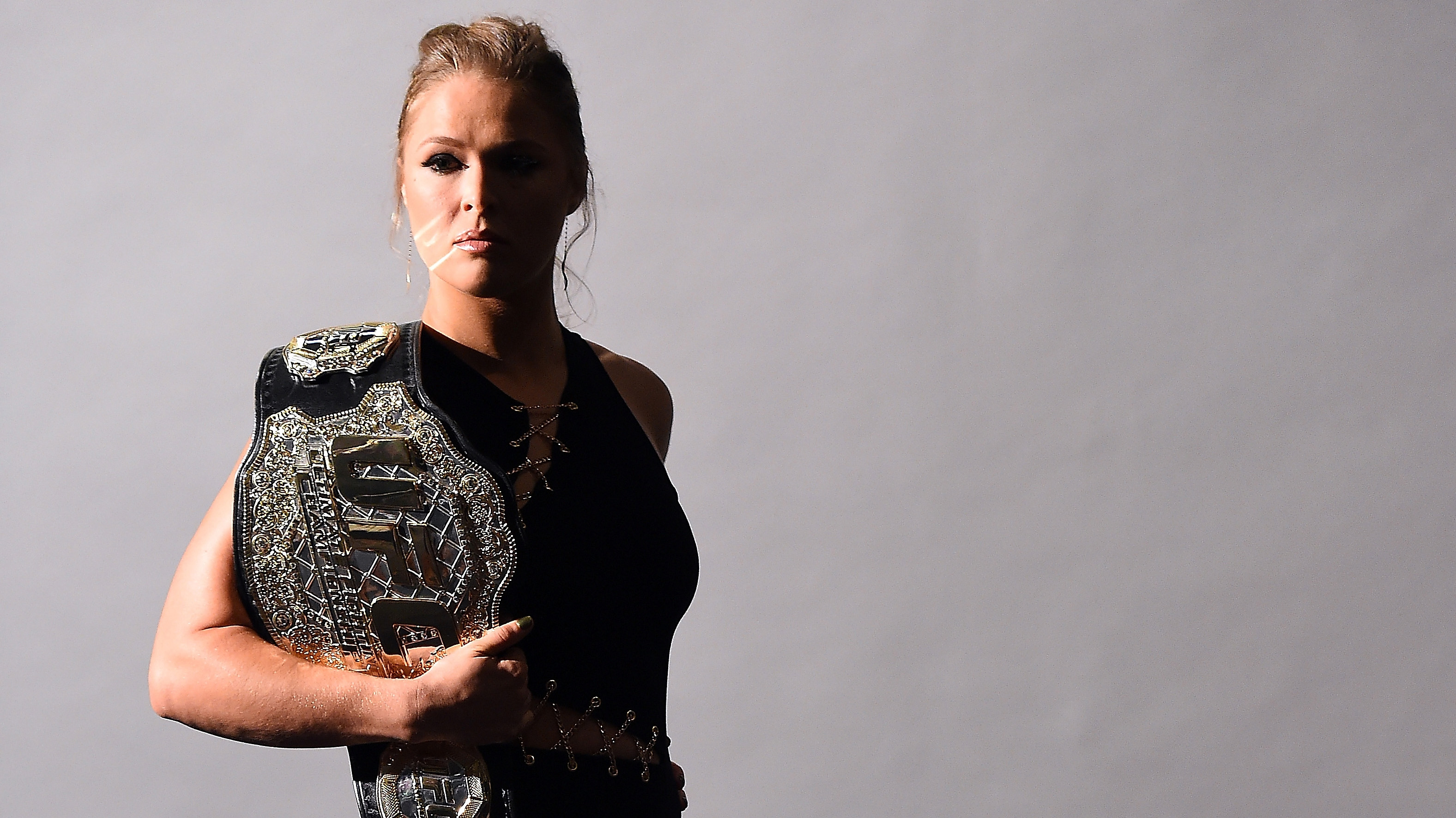 Ronda Rousey poses for a backstage portrait inside MGM Grand Garden Arena on September 4, 2015 in Las Vegas, Nevada. (Photo by Jeff Bottari/Zuffa LLC/Zuffa LLC via Getty Images)