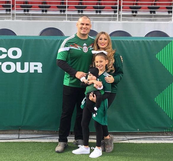 Cain Velasquez with his family at a mexico soccer game