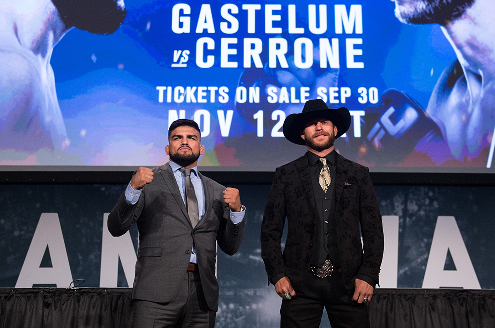 Gastelum and Cerrone meet on stage during the UFC 205 press conference