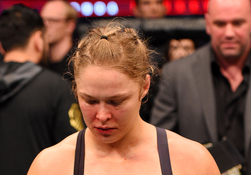 MELBOURNE, AUSTRALIA - NOV. 15:  Ronda Rousey looks on after losing her championship title by KO (head kick and punches) to Holly Holm (not pictured) in two rounds of their UFC women's bantamweight championship bout during the UFC 193 event at Etihad Stadium.  (Photo by Josh Hedges/Zuffa LLC)