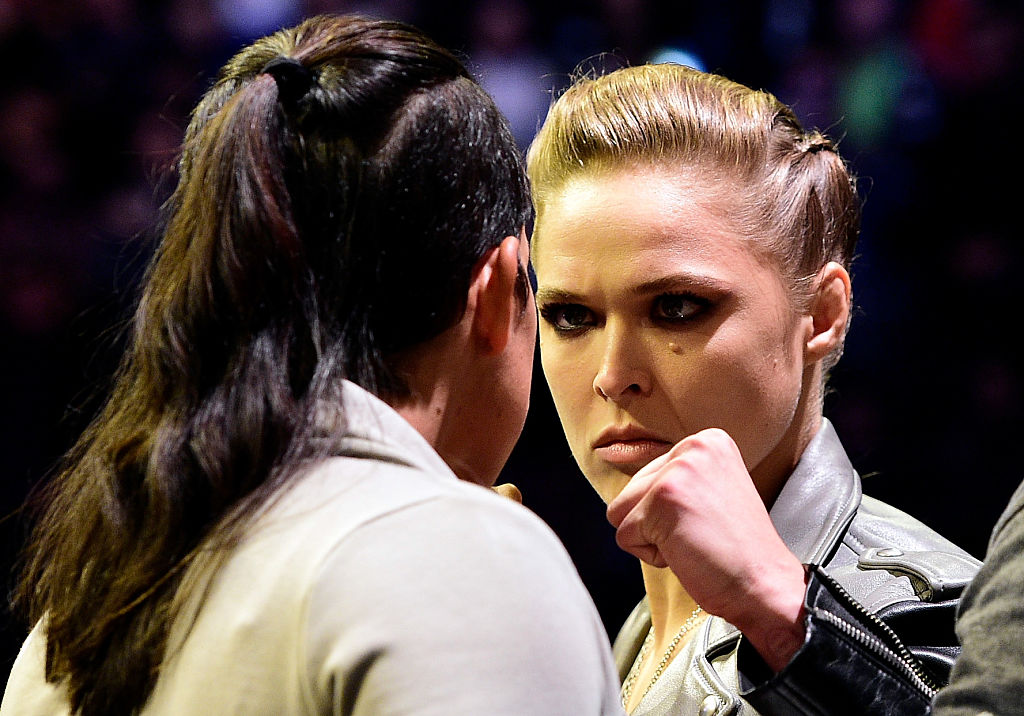 NEW YORK, NY - NOV. 11:  (R-L) UFC 207 opponents Ronda Rousey and Amanda Nunes face off during the UFC 205 weigh-in inside Madison Square Garden. (Photo by Mike Roach/Zuffa LLC)