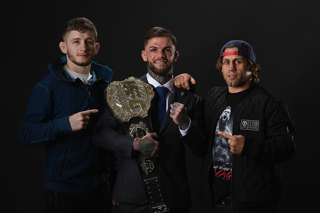 (Left-to-right) Holdsworth, Garbrandt and Faber have plenty to celebrate at Team Alpha Male (Photo by Mike Roach/Zuffa LLC/Zuffa LLC via Getty Images)