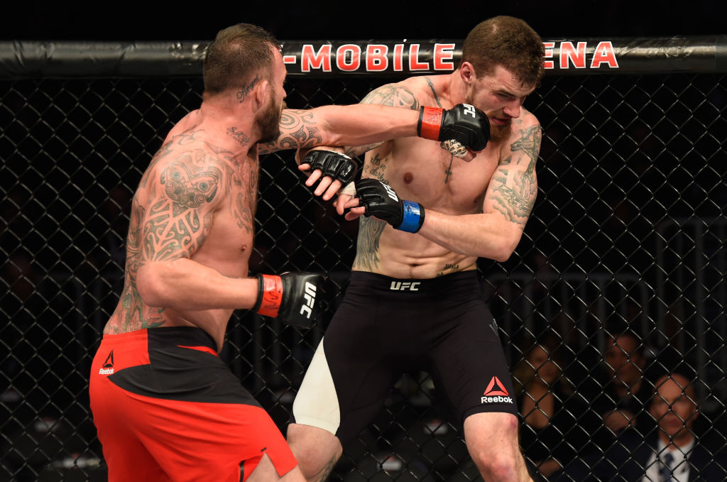 LAS VEGAS, NV - MARCH 04: (L-R) Mark Godbeer of England punches Daniel Spitz in their heavyweight bout during the UFC 209 event at T-Mobile Arena on March 4, 2017 in Las Vegas, Nevada.  (Photo by Josh Hedges/Zuffa LLC)
