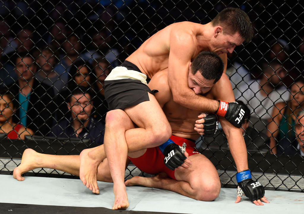 DALLAS, TX - MAY 13:  (L-R) Demian Maia attempts to submit Jorge Masvidal in their welterweight fight during the UFC 211 event at the American Airlines Center on May 13, 2017 in Dallas, Texas. (Photo by Josh Hedges/Zuffa LLC)