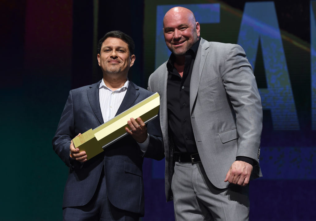 LAS VEGAS, NV - JULY 06: (R-L) UFC President Dana White and Joe Silva pose for a picture during the UFC Hall of Fame 2017 Induction Ceremony at the Park Theater on July 6, 2017 in Las Vegas, Nevada. (Photo by Brandon Magnus/Zuffa LLC)