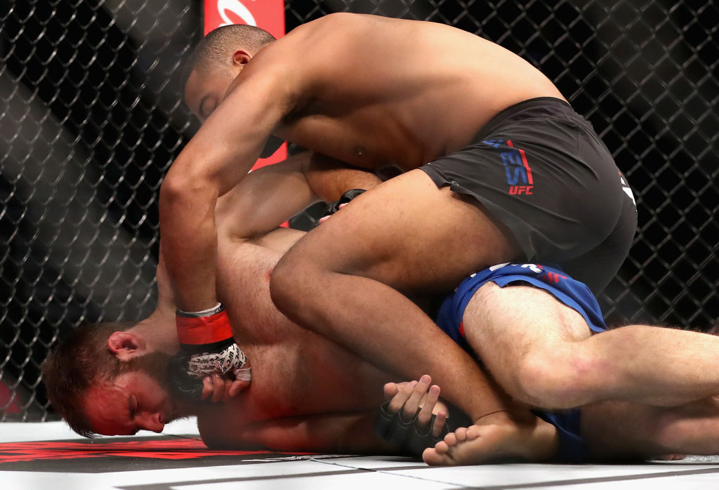 LAS VEGAS, NV - JULY 08: <a href='../fighter/Trevin-Giles'>Trevin Giles</a> (top) punches <a href='../fighter/James-Bochnovic'>James Bochnovic</a> in their light heavyweight bout during the UFC 213 event at T-Mobile Arena on July 8, 2017 in Las Vegas, Nevada. (Photo by Christian Petersen/Zuffa LLC)