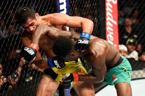 ANAHEIM, CA - JULY 29:  Aljamain Sterling elbows Renan Barao of Brazil in their 140-pound catchweight bout during the UFC 214 event at Honda Center on July 29, 2017 in Anaheim, California.  (Photo by Josh Hedges/Zuffa LLC/Zuffa LLC via Getty Images)