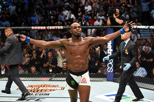 ANAHEIM, CA - JULY 29:  Jon Jones celebrates after knocking out Daniel Cormier in their UFC light heavyweight championship bout during the UFC 214 event at Honda Center on July 29, 2017 in Anaheim, California.  (Photo by Josh Hedges/Zuffa LLC/Zuffa LLC via Getty Images)