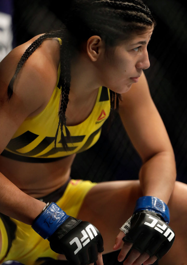 KANSAS CITY, MO - APRIL 15:  Ketlen Vieira prepares to battle Ashlee Evans-Smith during their Women's Bantamweight bout on UFC Fight Night at the Sprint Center on April 15, 2017 in Kansas City, Missouri.  (Photo by Jamie Squire/Getty Images)