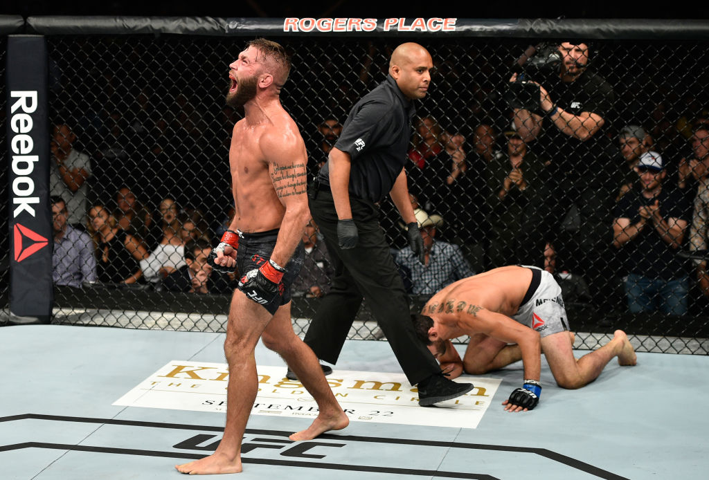 EDMONTON, AB - SEPTEMBER 09: (L-R) Jeremy Stephens screams after facing Gilbert Melendez in their featherweight bout during the UFC 215 event inside the Rogers Place on September 9, 2017 in Edmonton, Alberta, Canada. (Photo by Jeff Bottari/Zuffa LLC/Zuffa LLC via Getty Images)