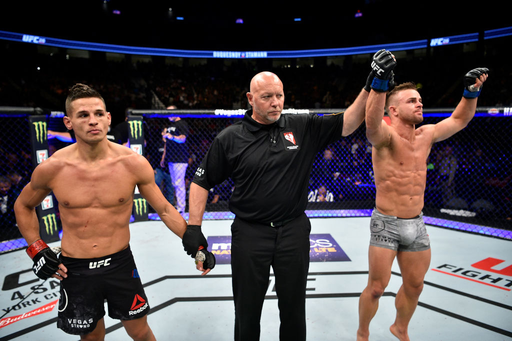 LAS VEGAS, NV - OCT. 07: Cody Stamann celebrates after his split-decision victory over Tom Duquesnoy during the UFC 216 event inside T-Mobile Arena. (Photo by Jeff Bottari/Zuffa LLC)