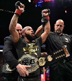 Demetrious Johnson celebrates after his submission victory over Ray Borg in their UFC flyweight championship bout during the UFC 216 event inside T-Mobile Arena on October 7, 2017 in Las Vegas, Nevada. (Photo by Jeff Bottari/Zuffa LLC)